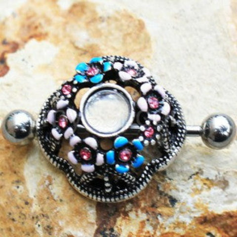 316L Stainless Steel Flower Field Dome Shape Nipple Shield - Fashion Hut Jewelry