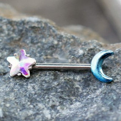 316L Stainless Steel Aurora Star and Moon Nipple Bar - Fashion Hut Jewelry