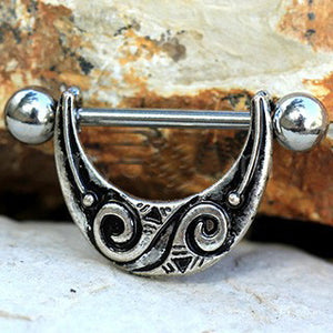 316L Stainless Steel Spiral Tribal Nipple Shield - Fashion Hut Jewelry