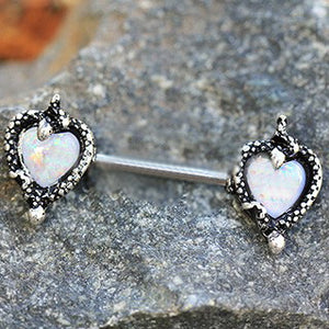 316L Stainless Steel Synthetic Opal Heart with Snake Nipple Bar - Fashion Hut Jewelry