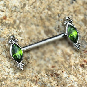 316L Stainless Steel Green Ornate Nipple Bar