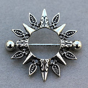 316L Stainless Steel Tribal Design Sunburst Nipple Shield - Fashion Hut Jewelry