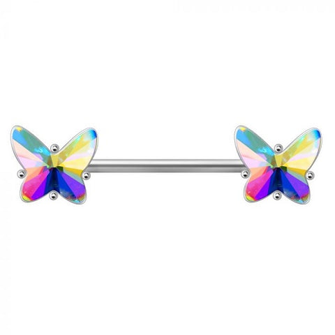 316L Stainless Steel Aurora Borealis Butterfly Nipple Bar - Fashion Hut Jewelry