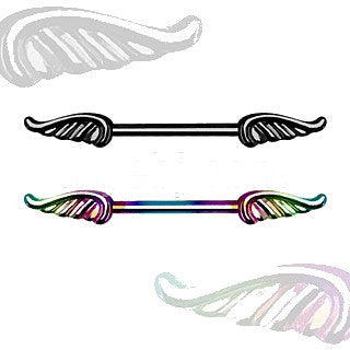 PVD Plated 316L Nipple Bar with Wings - Fashion Hut Jewelry