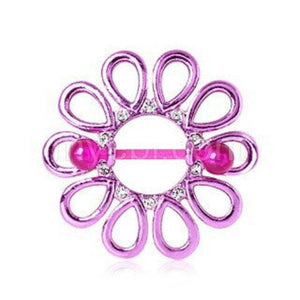 PVD Plated Purple Gemmed Flower Burst Nipple Shield with BioFlex Bar - Fashion Hut Jewelry