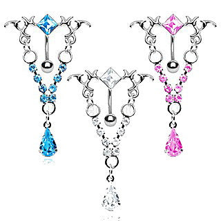 316L Surgical Steel Gemmed Tribal Chandelier Top Down Navel Ring - Fashion Hut Jewelry