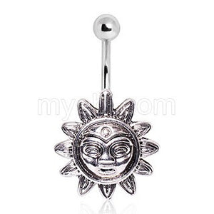 316L Surgical Steel Smiling Sunflower Navel Ring - Fashion Hut Jewelry