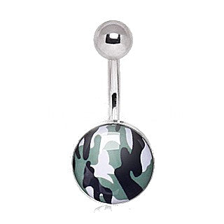 316L Surgical Steel Camouflage Navel Ring - Fashion Hut Jewelry