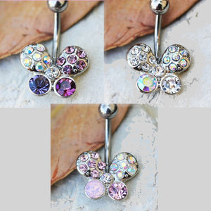 316L Stainless Steel Art of Brilliance Butterfly Gleam Navel Ring - Fashion Hut Jewelry