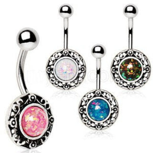 316L Stainless Steel Antique Navel Ring with Adorned Synthetic Opal - Fashion Hut Jewelry