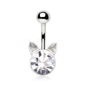 Crystal Cat Navel Ring - Fashion Hut Jewelry