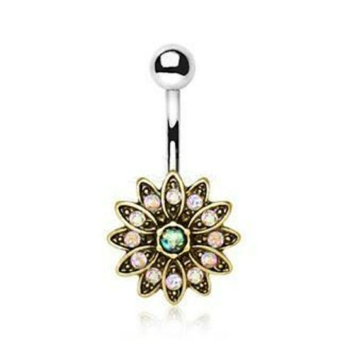 316L Stainless Steel Golden Aurora Floral Navel Ring - Fashion Hut Jewelry
