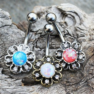 316L Stainless Steel Synthetic Opal Floral Navel Ring - Fashion Hut Jewelry