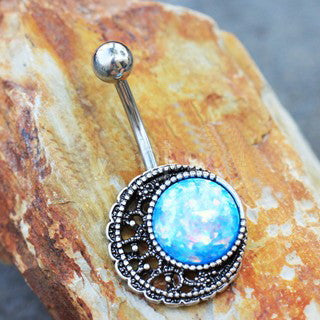 316L Stainless Steel Moon in the Galaxy Navel Ring - Fashion Hut Jewelry