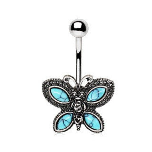 316L Stainless Steel Antique Turquoise Butterfly Navel Ring - Fashion Hut Jewelry