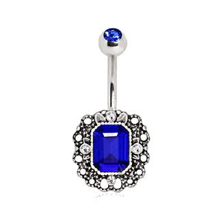 316L Stainless Steel Radiant Cut Sapphire Blue CZ Ornate Navel Ring - Fashion Hut Jewelry