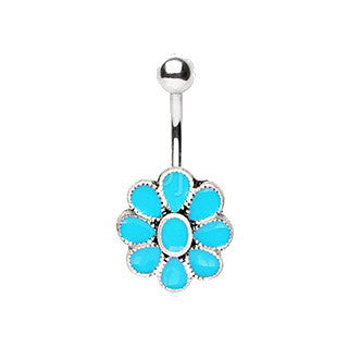 316L Stainless Steel Teal Blue Flower Navel Ring - Fashion Hut Jewelry