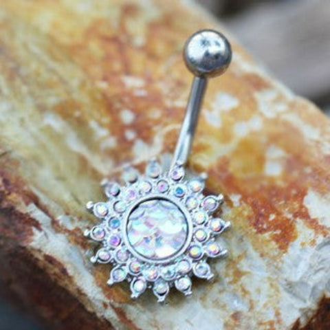 316L Stainless Steel Dazzling Aurora Sunburst Navel Ring - Fashion Hut Jewelry