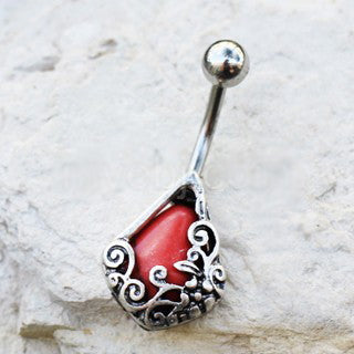316L Stainless Steel Ornamental Red Stone Teardrop Navel Ring - Fashion Hut Jewelry