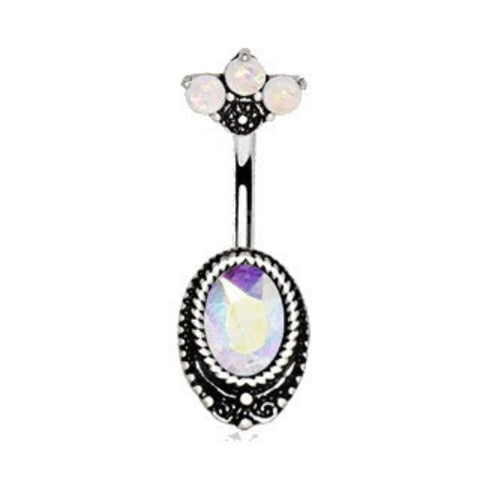 316L Surgical Steel Aurora Borealis CZ Navel Ring with Opal Fan Top - Fashion Hut Jewelry