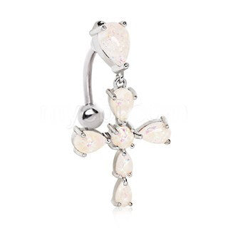 316L Stainless Steel White Synthetic Opal Cross Top Down Navel Ring - Fashion Hut Jewelry