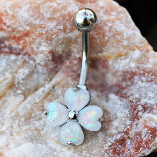 316L Stainless Steel White Synthetic Opal Clover Navel Ring - Fashion Hut Jewelry