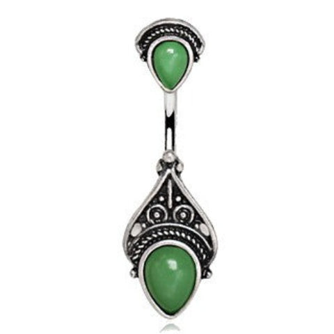 316L Stainless Steel Green Victorian Design Navel Ring - Fashion Hut Jewelry