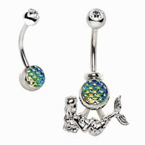 316L Stainless Steel 2-in-1 Fish Scale Cabochon Mermaid Navel Ring - Fashion Hut Jewelry