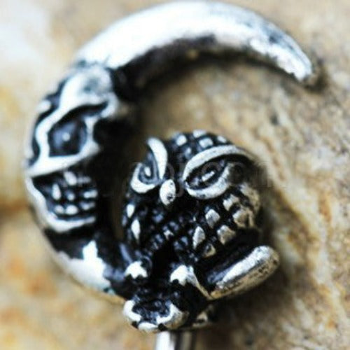 316L Stainless Steel Gothic Owl on the Moon Skeleton Key Navel Ring - Fashion Hut Jewelry