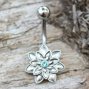 316L Stainless Steel Lotus Flower Navel Ring - Fashion Hut Jewelry