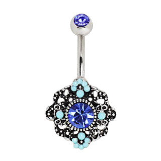 316L Stainless Steel Ornate Blue Flower Navel Ring - Fashion Hut Jewelry