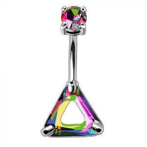 316L Stainless Steel Rainbow Hollow Triangle CZ Navel Ring - Fashion Hut Jewelry