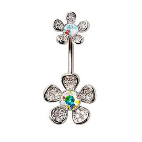 316L Stainless Steel Double Rainbow Flower Navel Ring - Fashion Hut Jewelry