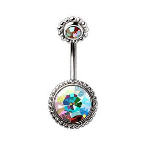 316L Stainless Steel Fancy Aurora Borealis Navel Ring - Fashion Hut Jewelry