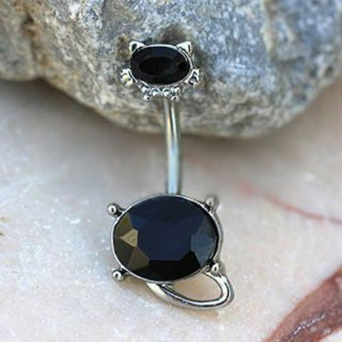 316L Stainless Steel Fancy Black Cat Navel Ring