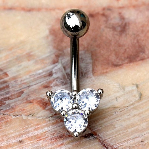 316L Stainless Steel Triple Gem Navel Ring Belly Button Ring - Fashion Hut Jewelry