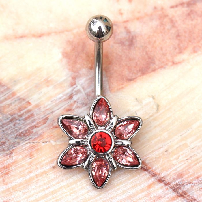 316L Stainless Steel Pink Flower Navel Ring Belly Ring - Fashion Hut Jewelry