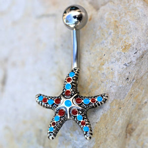 316L Stainless Steel Colorful Starfish Navel Ring - Fashion Hut Jewelry