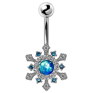 316L Stainless Steel Blue Snowflake Navel Ring - Fashion Hut Jewelry