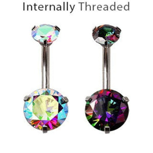 Internally Threaded 316L Stainless Steel Prong Set Iridescent Cubic Navel Ring - Fashion Hut Jewelry