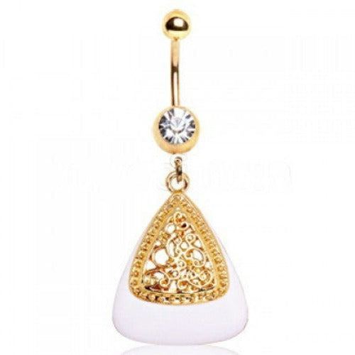 White & Gold Triangle Navel Ring - Fashion Hut Jewelry