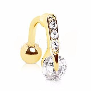 Gold Plated Top Down Round CZ Navel Ring - Fashion Hut Jewelry