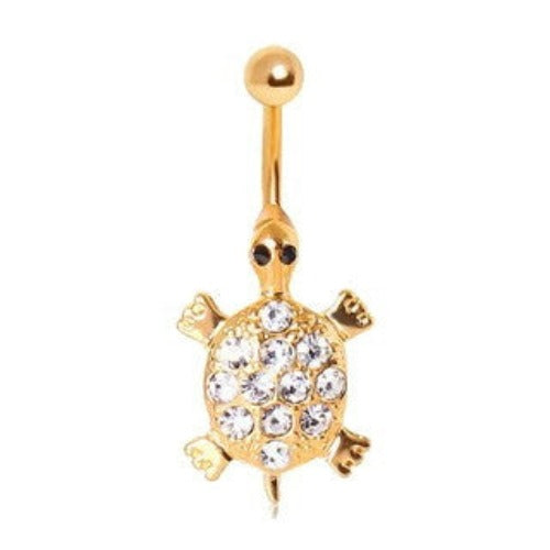Sea Turtle Gemmed Navel Ring - Fashion Hut Jewelry