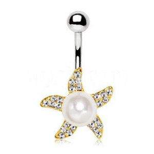 Gold Pearl Accent Starfish Navel Ring