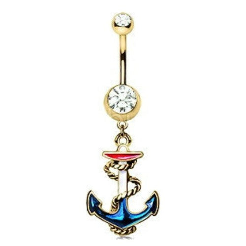 Vintage Anchor Dangle Navel Ring - Fashion Hut Jewelry