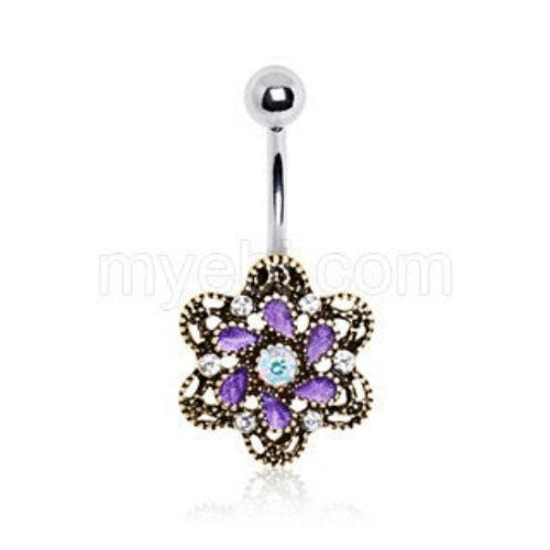 Antique Gold Plated Ornate Jeweled Camellia Flower Navel Ring - Fashion Hut Jewelry