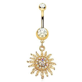 Gold Plated Shimmering Sunburst Dangle Navel Ring - Fashion Hut Jewelry