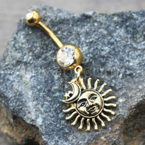 Gold Sun Moon Star Dangle Navel Ring - Fashion Hut Jewelry