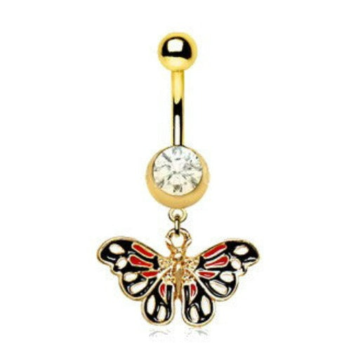 Gold Plated True Butterfly Dangle Navel Ring - Fashion Hut Jewelry