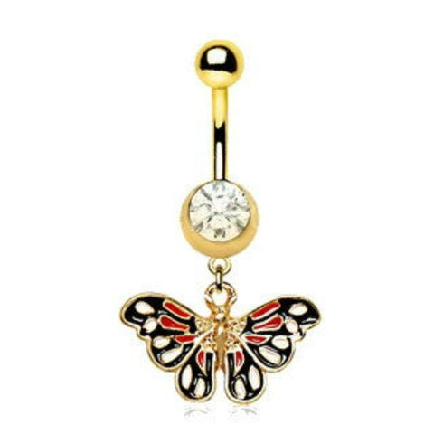 Gold Plated True Butterfly Dangle Navel Ring